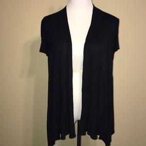 Black Short Sleeve Lightweight Cardigan